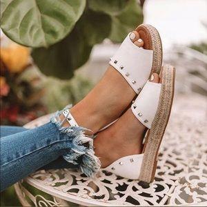Shoes - White Platform Studded Espadrilles